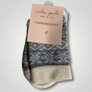 NEW Mila Paoli Cashmere Blend Socks 2pk